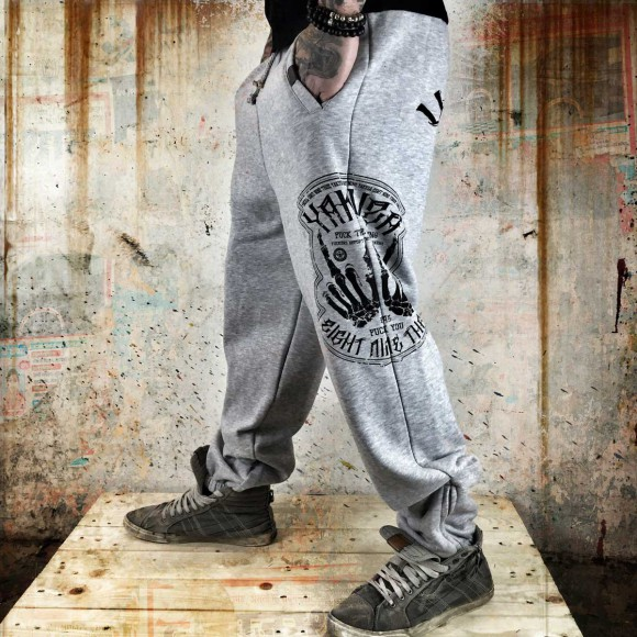 Yakuza tepláky F*ckers Joggers JOB 7035 Light Grey
