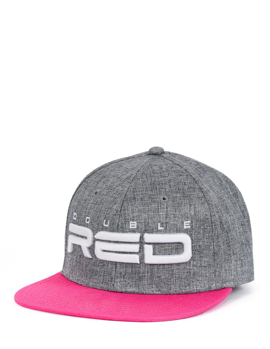 Double Red STREETGIRL Snapback Melange 3D Embroidery Grey/Pink